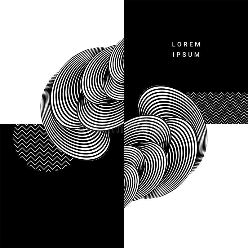 Creative stylish circulars pattern design abstract background. Creative stylish circulars pattern design abstract background in black and white color stock illustration