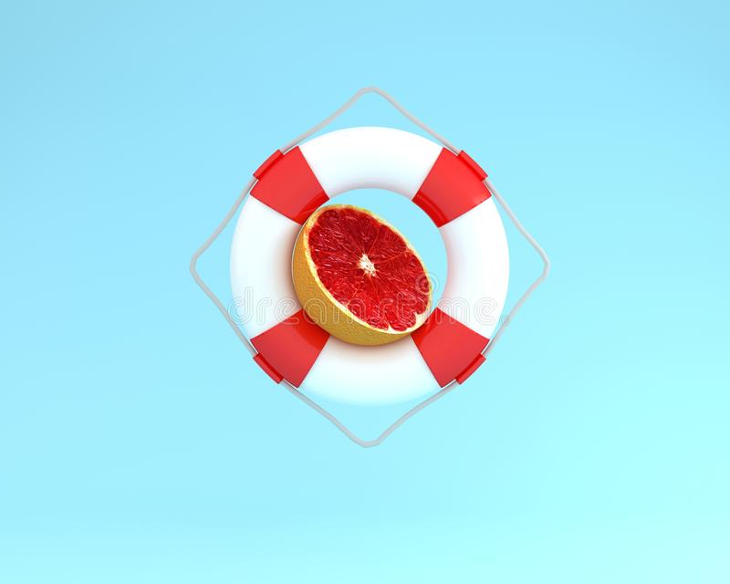 Creative summer layout made of Grapefruit slice with red pool fl. Oat on blue pastel background. minimal fruit concept idea royalty free illustration