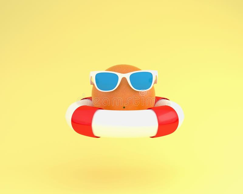 Creative summer layout made of Orange fruit with red pool float. And sunglasses on yellow pastel background. minimal fruit concept idea vector illustration