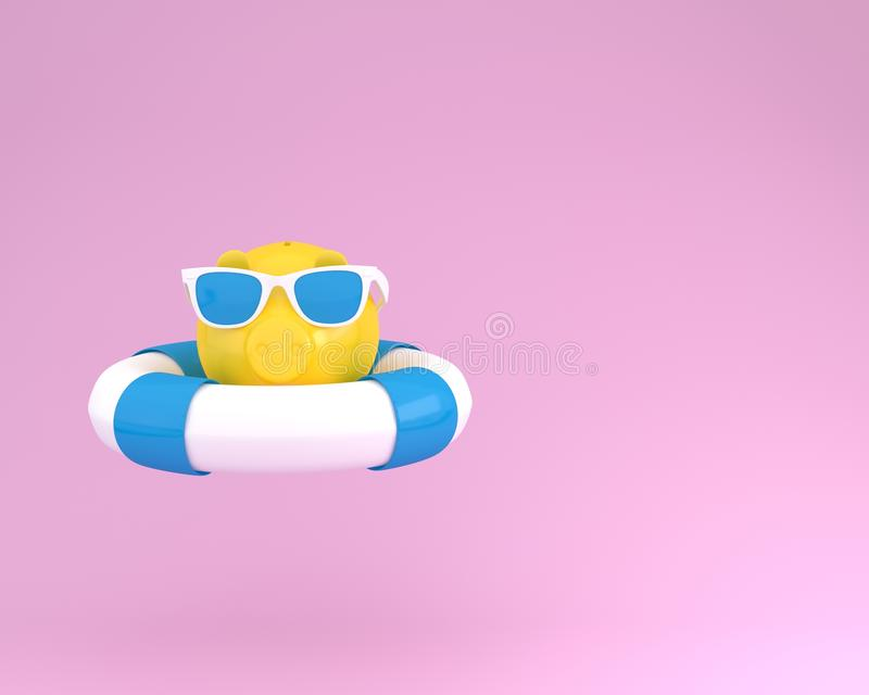 Creative summer layout made of piggy banks with blue pool float. And sunglasses on pink pastel background. minimal business finance concept idea. Holidays In vector illustration
