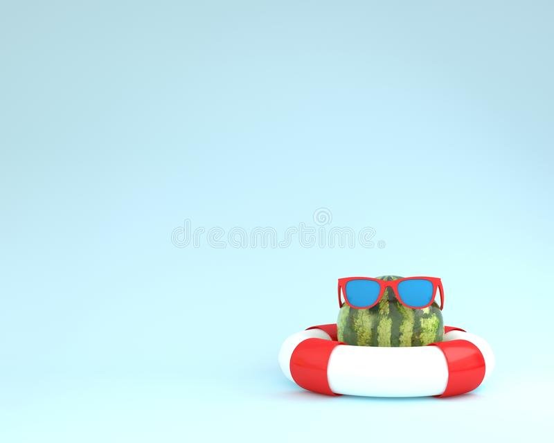 Creative summer layout made of watermelon with red pool float a. Nd sunglasses on blue pastel background. minimal fruit concept idea royalty free illustration