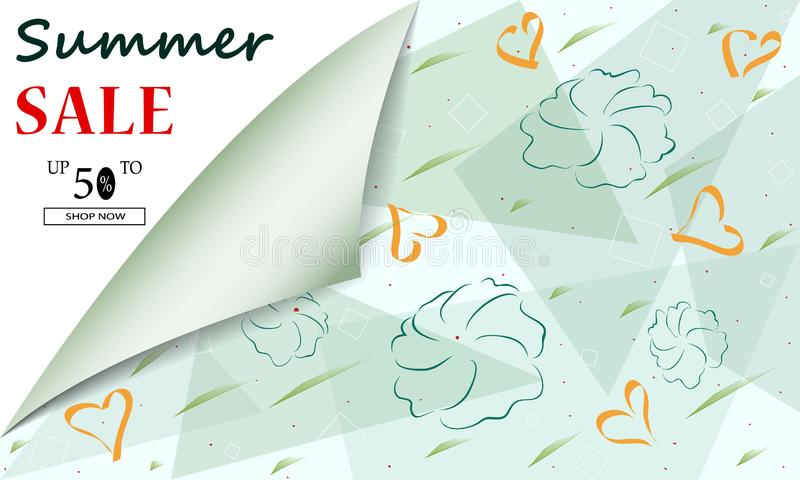 Creative summer Sale background headers or banners with discount offer. Art posters. Design for seasonal clearance. It stock illustration