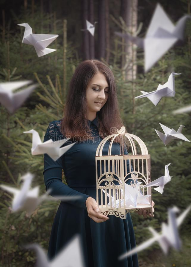 Creative surrealism design. Girl with cage and origami paper cranes. Concept about freedom and differences. Mysterious forest stock photos