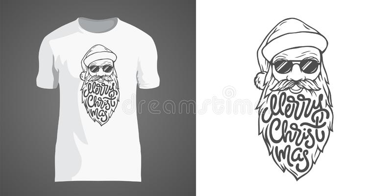 Creative t-shirt design with illustration of Santa in sunglasses with big beard. Lettering Merry Christmas in form of vector illustration
