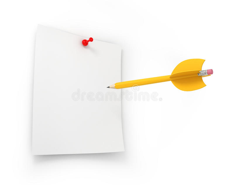 Creative target and business marketing goals. With a yellow pencil in the shape of a dart aiming for innovation and invention through focus and strategy stock photo
