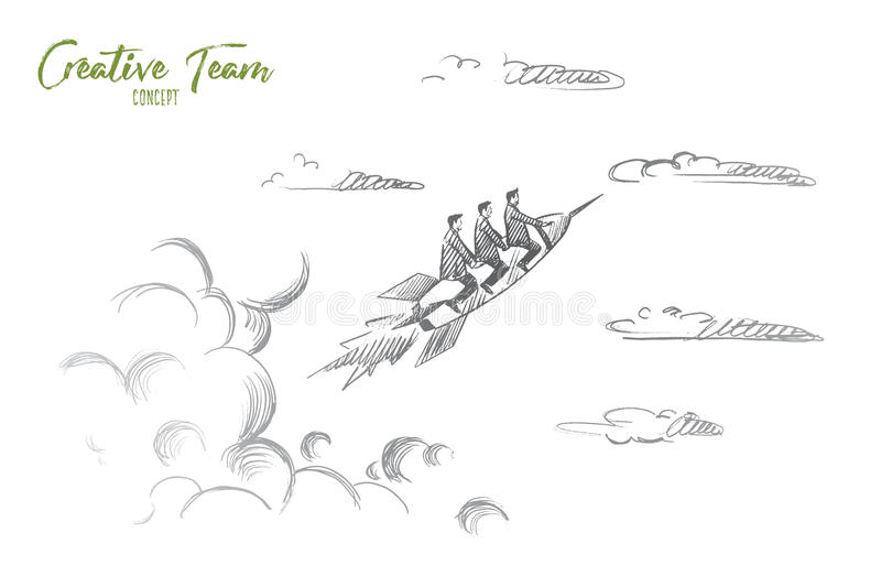 Creative team concept. Hand drawn isolated vector. Creative team concept. Hand drawn people flying on rocket. Startup concept, creative team work isolated royalty free illustration