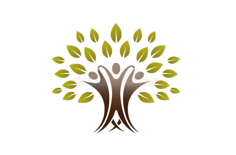 Creative Team People Tree Logo. Design Illustration stock illustration