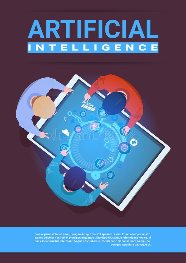 Creative Team Of Programmers Working Sit At Desk Digital Tablet Top Angle View Artificial Intelligence Concept stock illustration