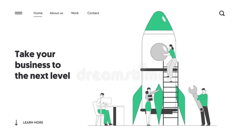 Creative Team Rocket Launch Website Landing Page. Businesspeople Launching Business Project Startup. Business Strategy Successful Realization Web Page Banner vector illustration