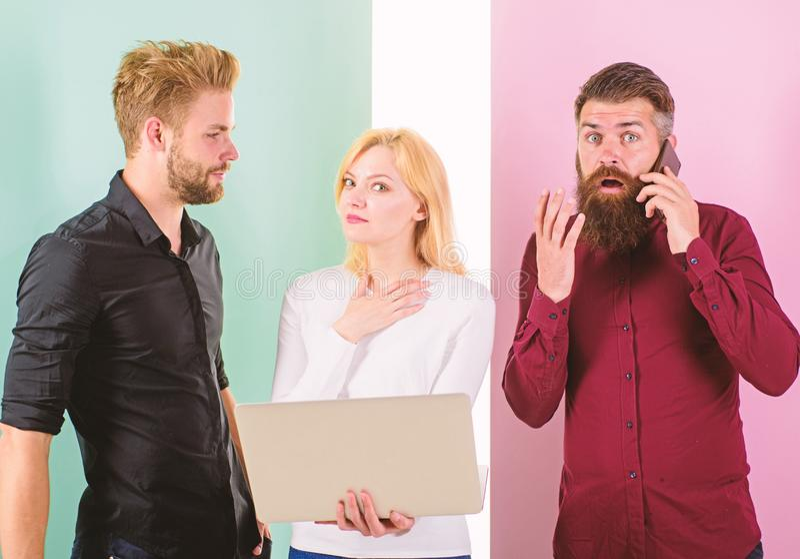 Creative team. Team internet marketing work content creating. Social media marketing team. Men and woman enjoy royalty free stock photography