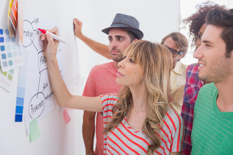Creative team watching coworker add to flowchart. On whiteboard with colour samples stock photography