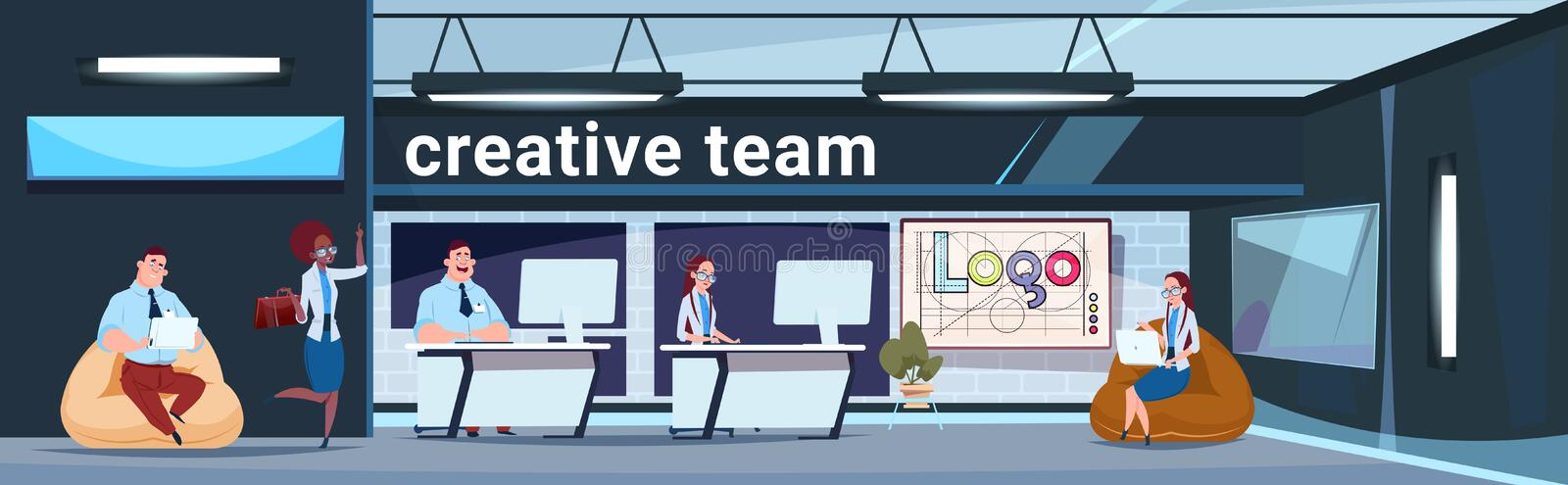 Creative Team Working In Modern Office Coworking Space Business People Group Brainstorming royalty free illustration