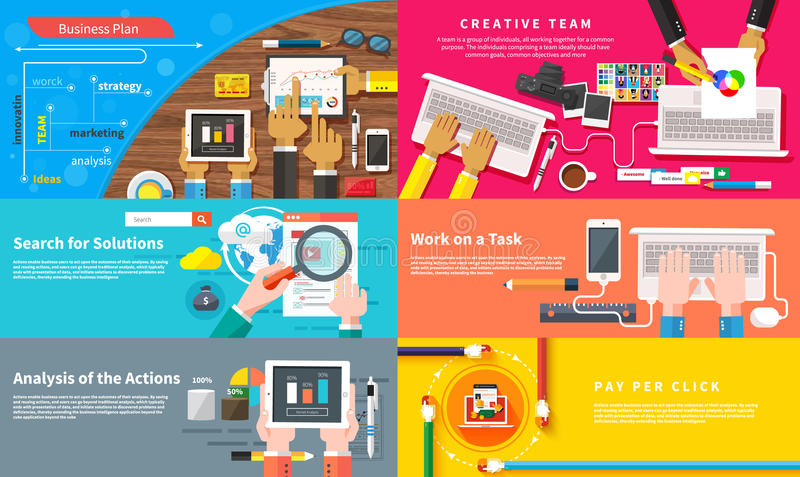 Creative team. Young design team working at desk royalty free illustration