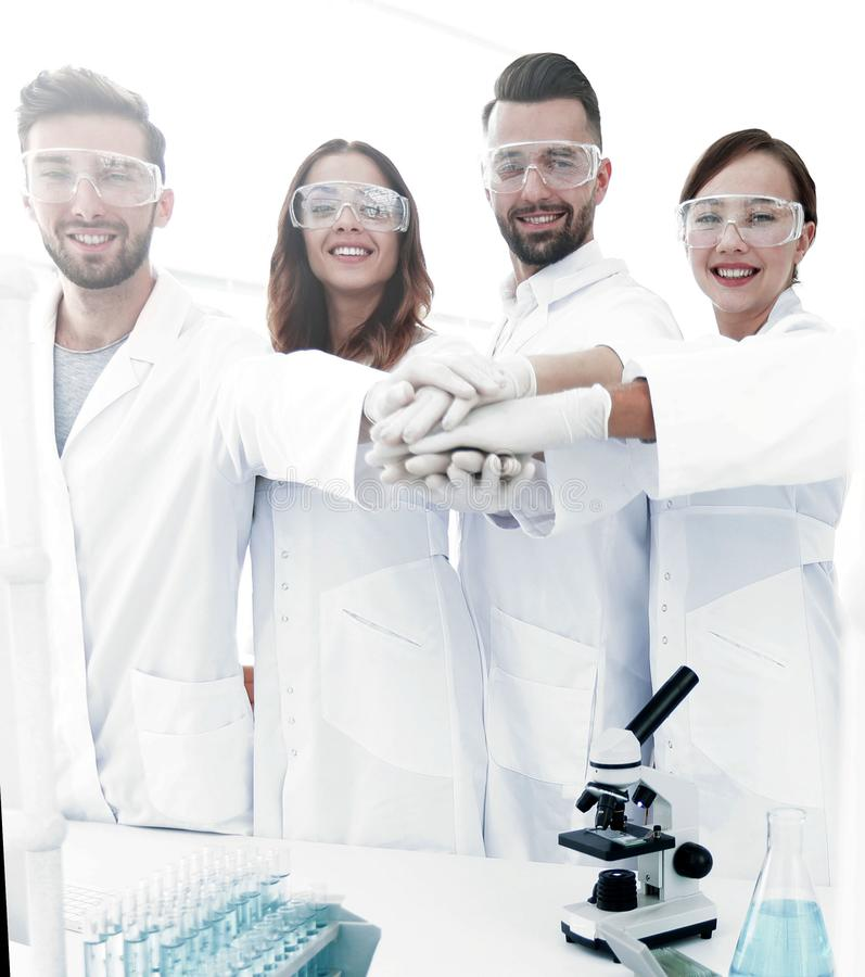 Creative team of young scientists. stock image