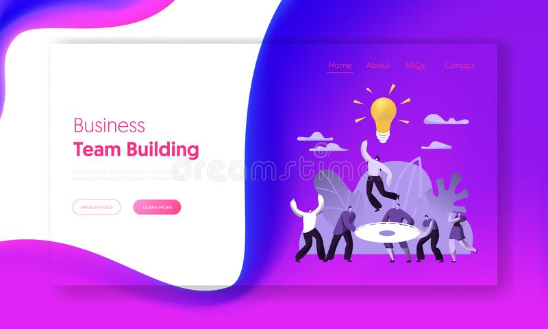 Creative Teamwork Business Success People Work Landing Page. Financial Team Building Communication Strategy Solution vector illustration