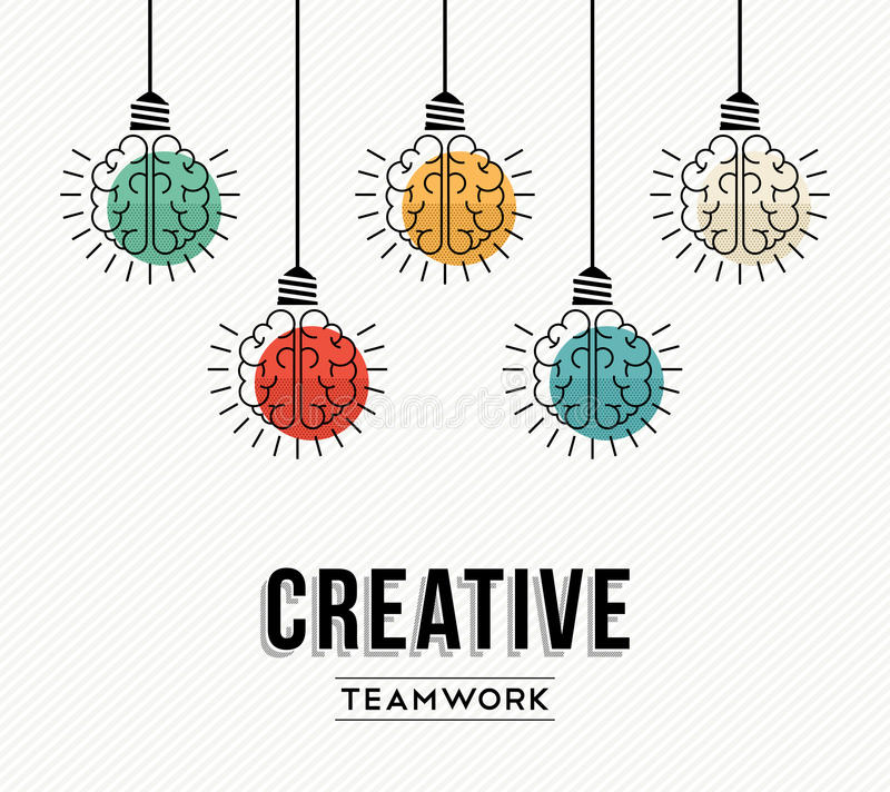 Creative teamwork concept design with human brains vector illustration