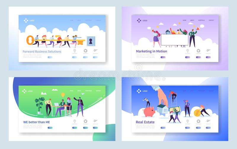 Creative Teamwork Idea Concept Landing Page. Business People Character Making Solution Set. Male and Female with Key Website vector illustration