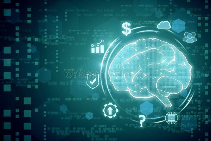 Creative tech brain backdrop royalty free illustration