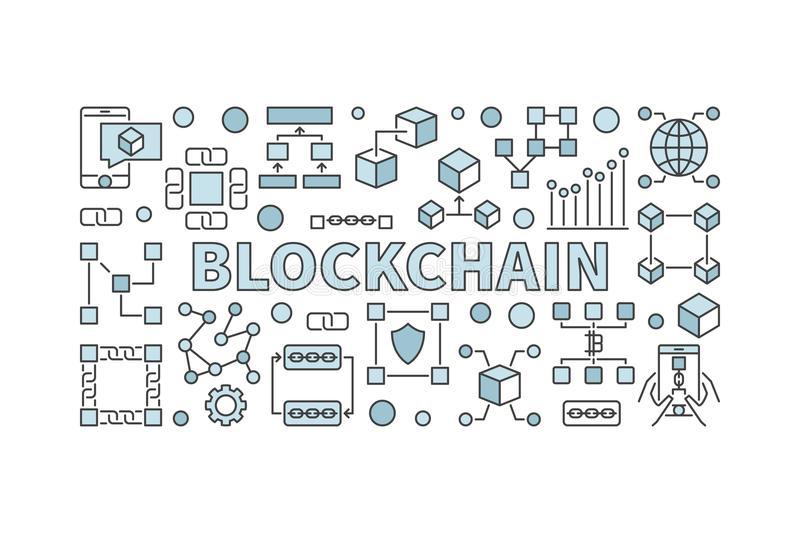 Creative technology banner made with block chain icons and word stock illustration