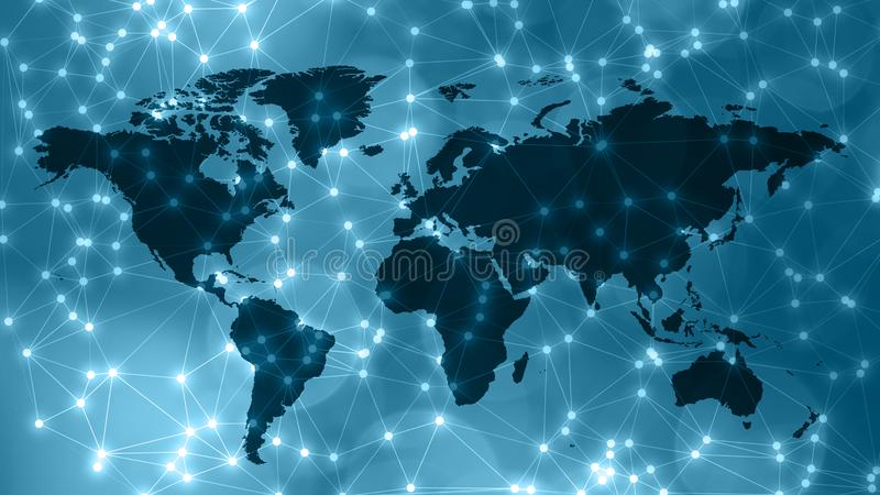 Creative technology world graphic backgrounds connected lines. Connected dots with lines and graphic world map, creative abstract background. Global business or stock images