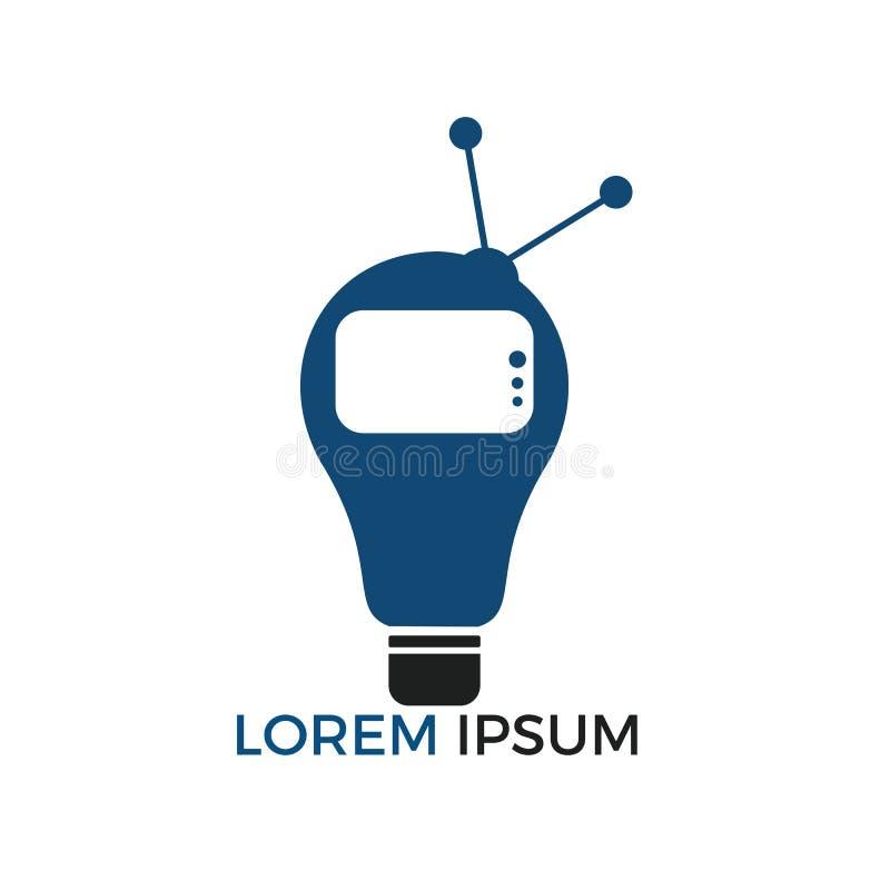 Bulb and television logo design. Creative Television program ideas concept vector illustration