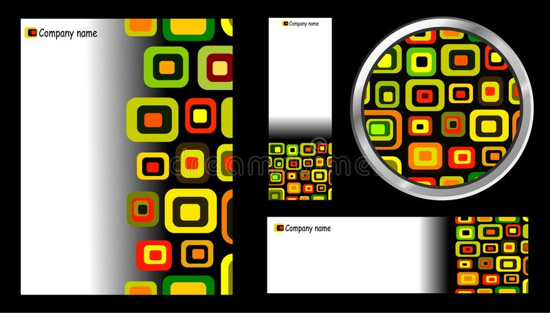 Creative Template, Button and Card Set vector illustration