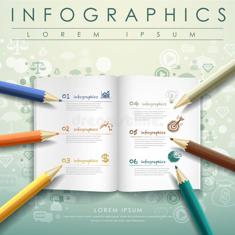 Creative template with colored pencil and book royalty free illustration