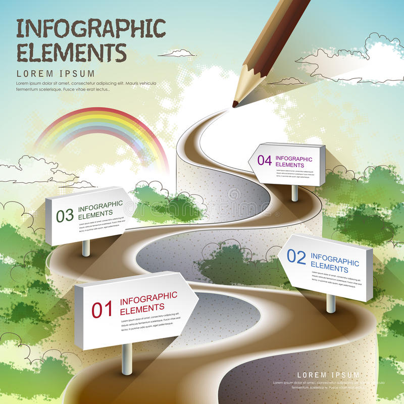 Creative template with colored pencil drawing a natural road. Can be used for infographics and banners, concept vector illustration
