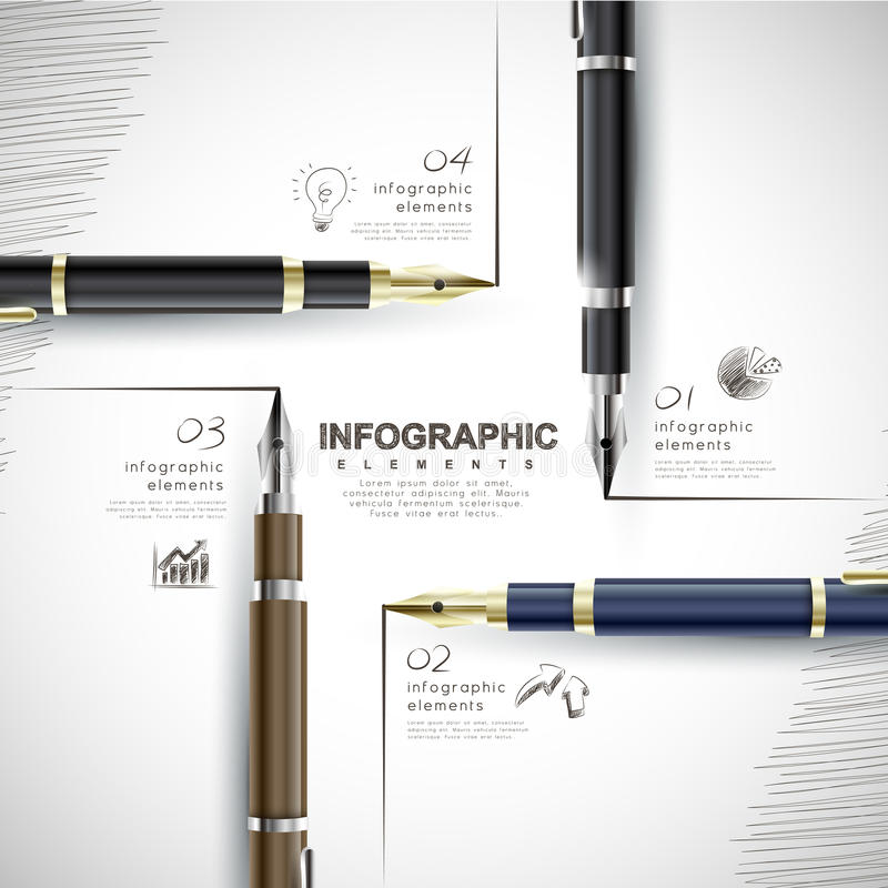 Creative template with fountain pen writing informations stock illustration