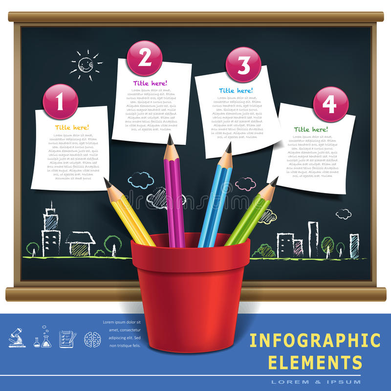 Creative template infographic with pencils and flow char. T on blackboard royalty free illustration