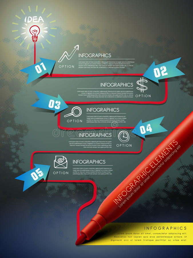 Creative template with mark pen drawing flow chart infographic. Creative template with red mark pen drawing flow chart infographic stock illustration