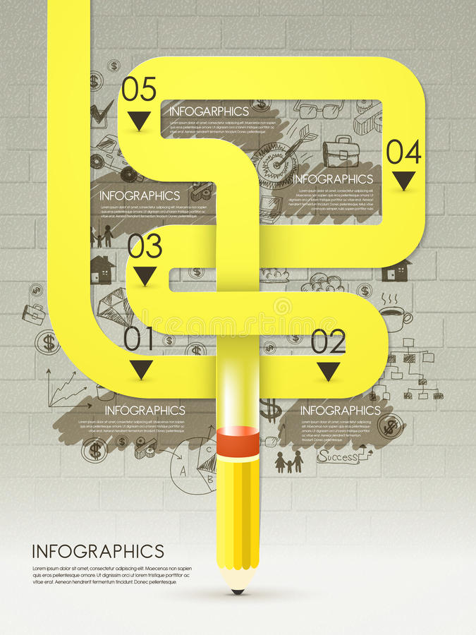 Creative template with pencil drawing yellow flow chart infographic. Creative template with pencil drawing yellow curved flow chart infographic stock illustration