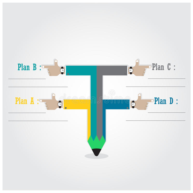 Creative template with pencil ribbon banner flow chart royalty free illustration