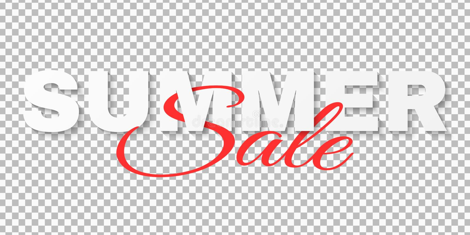 Creative text banner for Summer Sale isolated on transparent background. 3d text. Special offer. Big discounts. Beautiful royalty free illustration