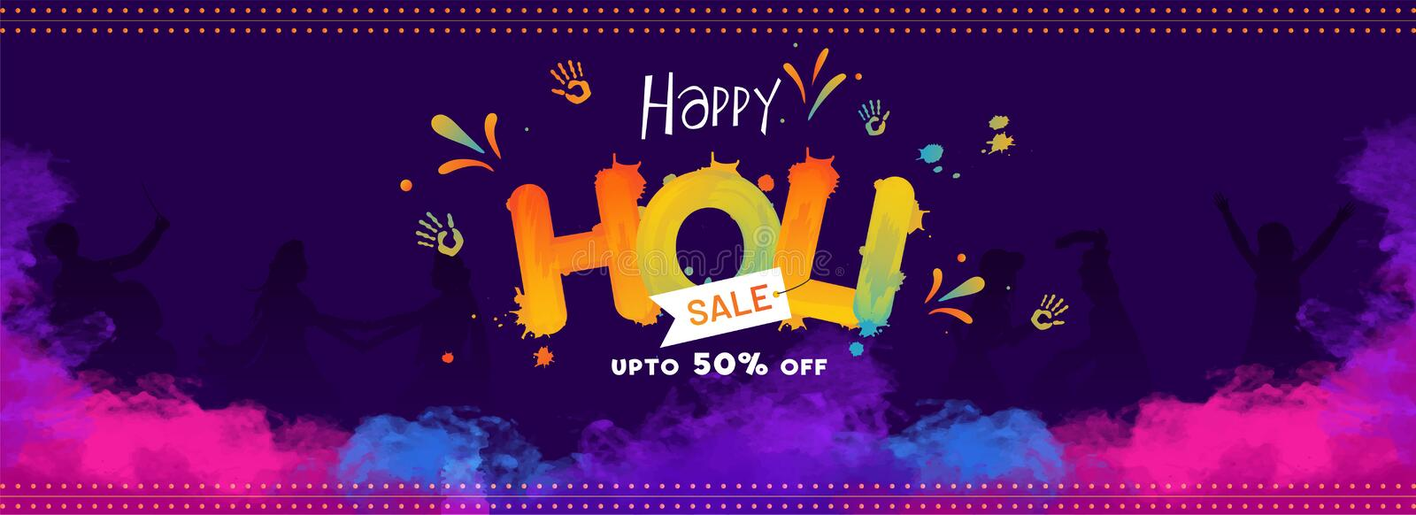 Creative text happy holi on blue background with 50% discount offer royalty free illustration