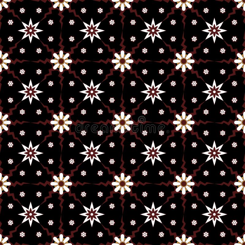 Traditional simple geometric seamless pattern of batik motif background.Stylish fabric print vector design inspiration. stock illustration