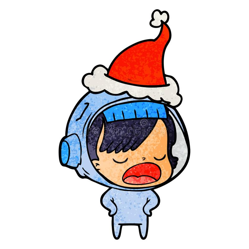 A creative textured cartoon of a astronaut woman explaining wearing santa hat. An original creative textured cartoon of a astronaut woman explaining wearing royalty free illustration