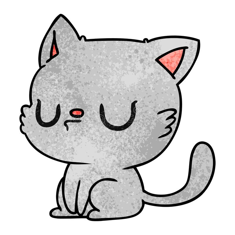 Textured Grunge Cartoon Kawaii Cute Cat Kitten Pet Animal Art