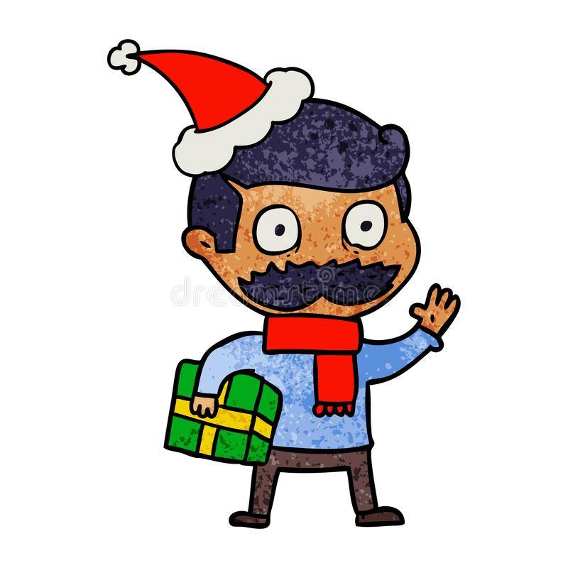 A creative textured cartoon of a man with mustache and christmas present wearing santa hat royalty free illustration