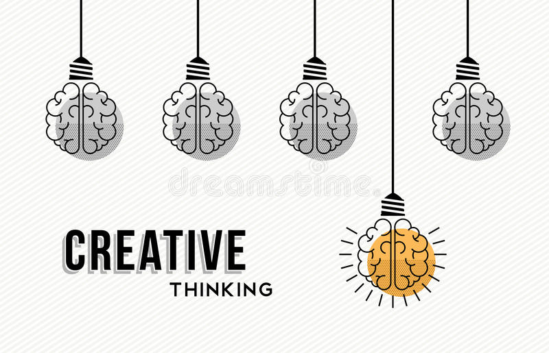 Creative thinking concept design with human brains vector illustration