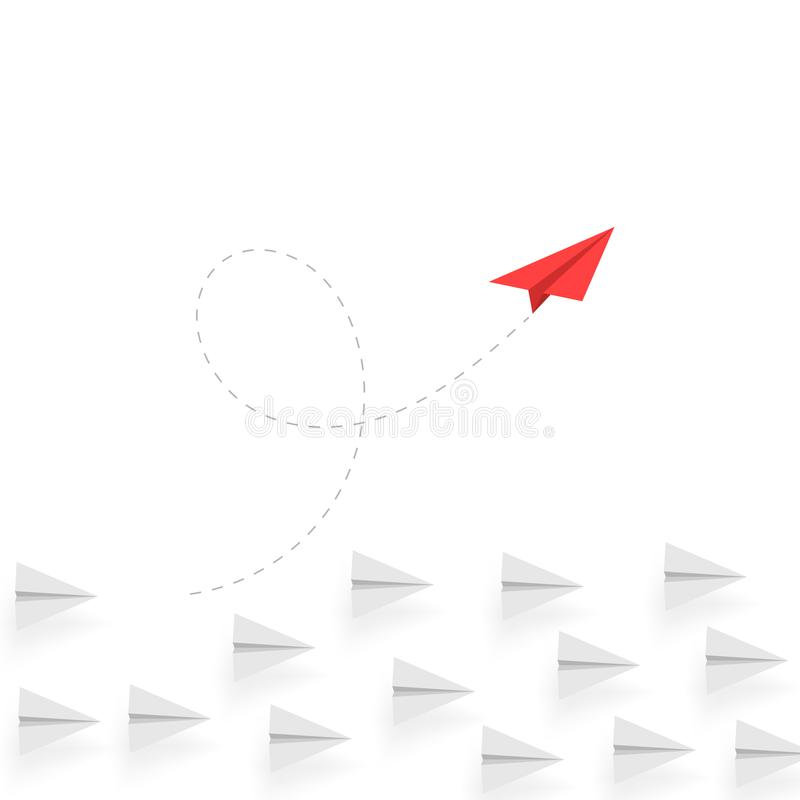 Creative thinking. Red paper airplane move different way. Creative business concept. Unique idea. Innovation and success stock illustration