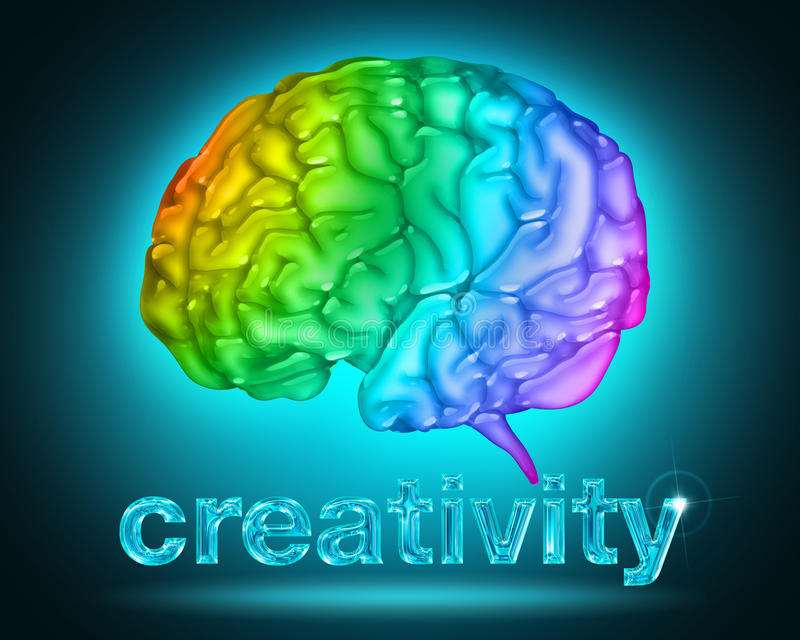 Creative thought. Illustration of a brain with the colors of the rainbow vector illustration