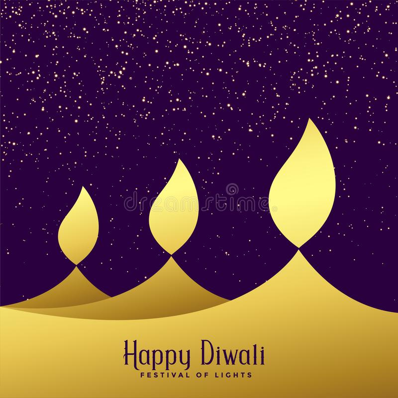 Creative three diwali golden diya background stock illustration