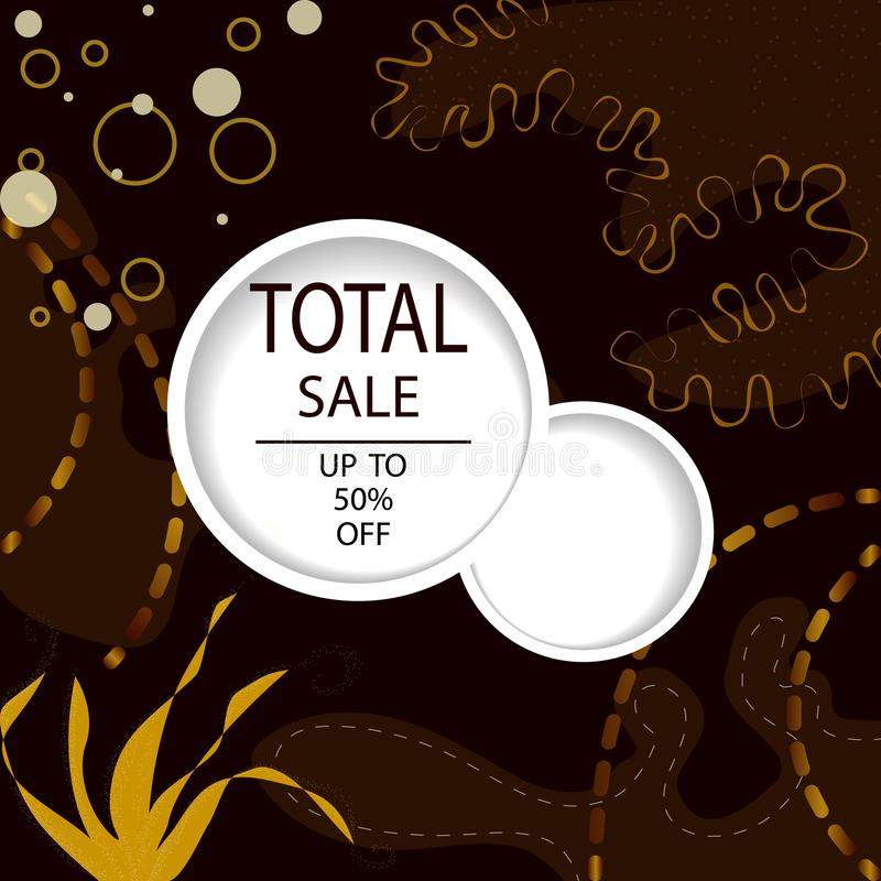 Creative Total Sale headers or banners with discount offer. Art dark and golden posters. Design for seasonal clearance. It can be vector illustration