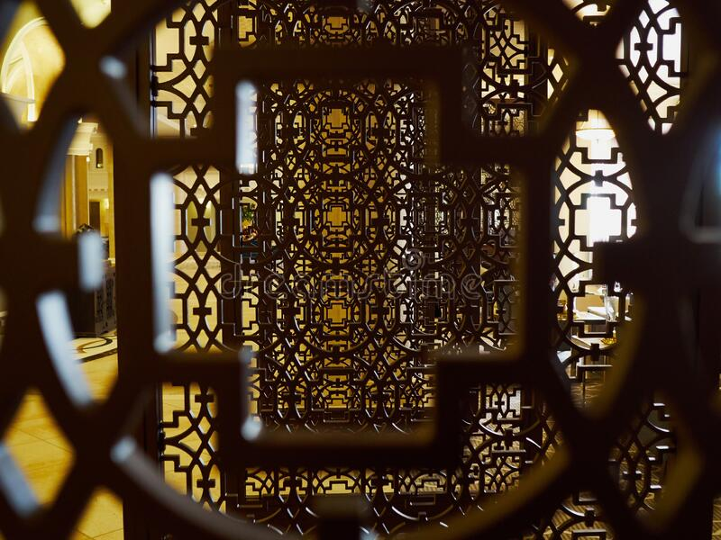 Creative traditional wooden elements in Arabesque style royalty free stock photos