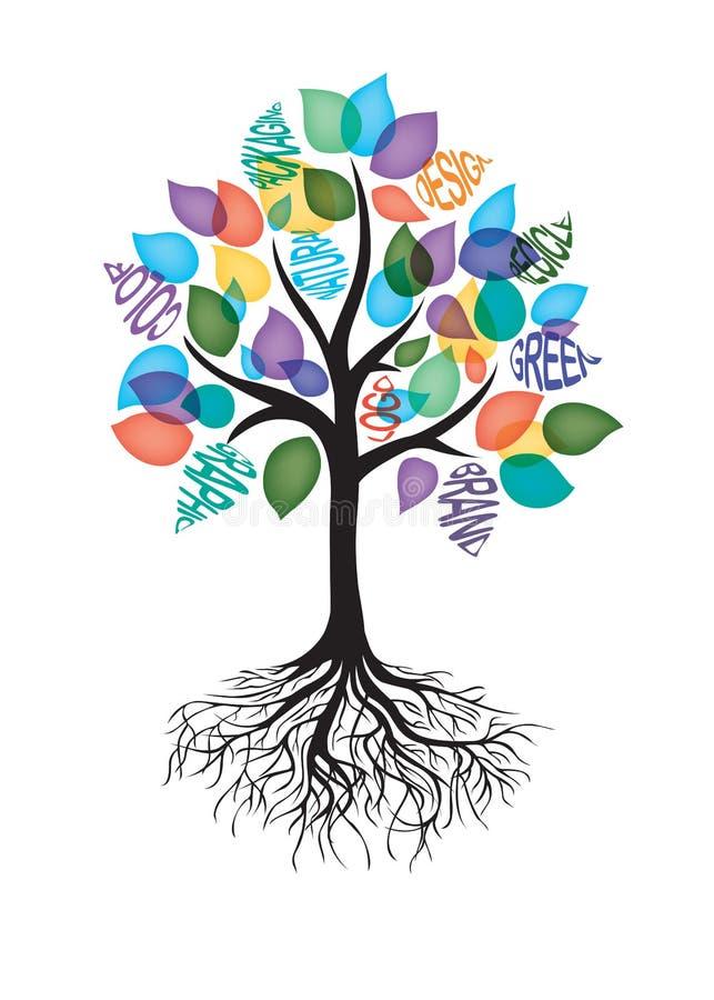 Creative Tree for Designer. Various color vector black brand design green vector illustration