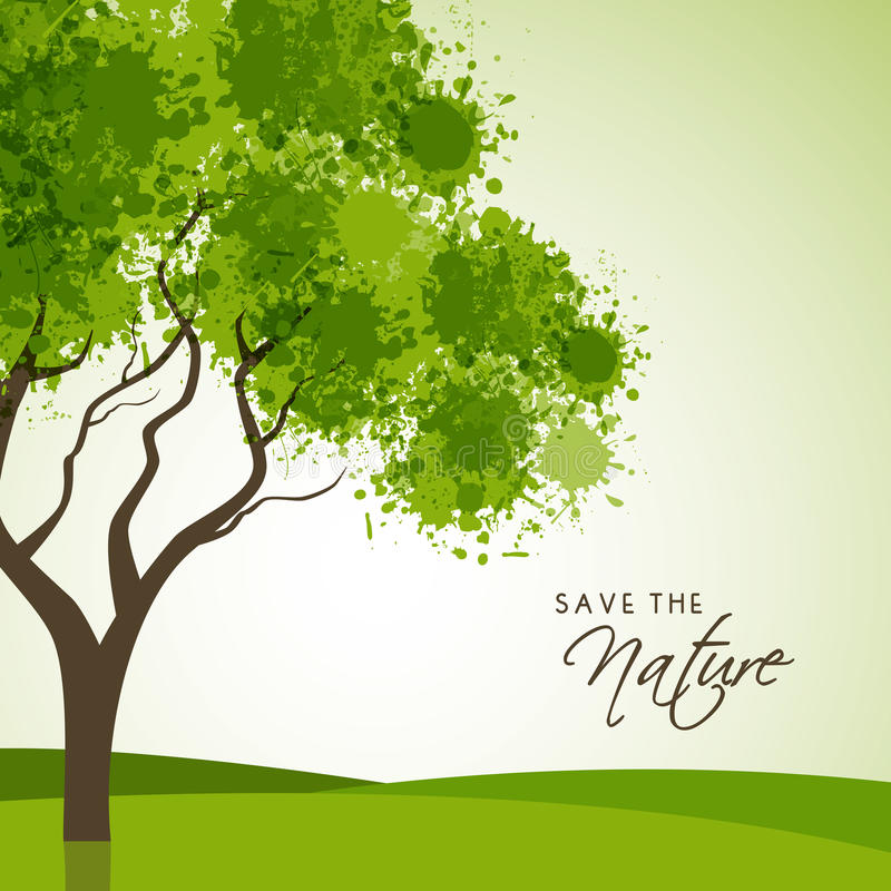 Creative Tree for Save Nature. Creative tree made by green color splash on shiny background for Save the Nature vector illustration