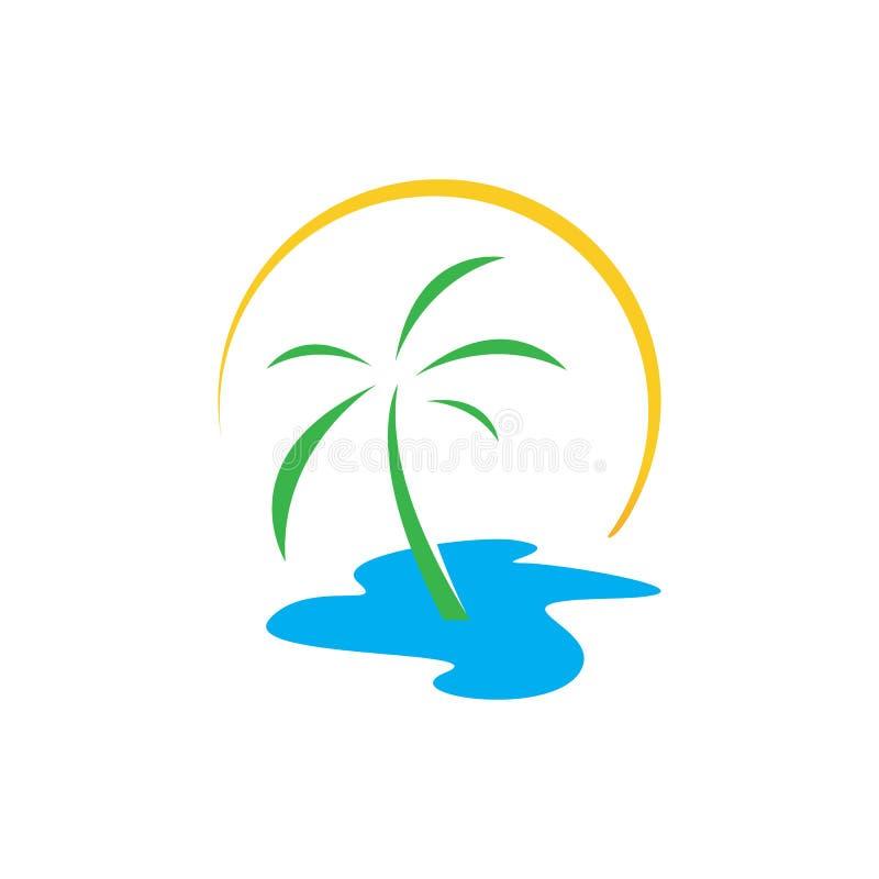 creative tropical summer beach logo design template Vector illustration stock illustration