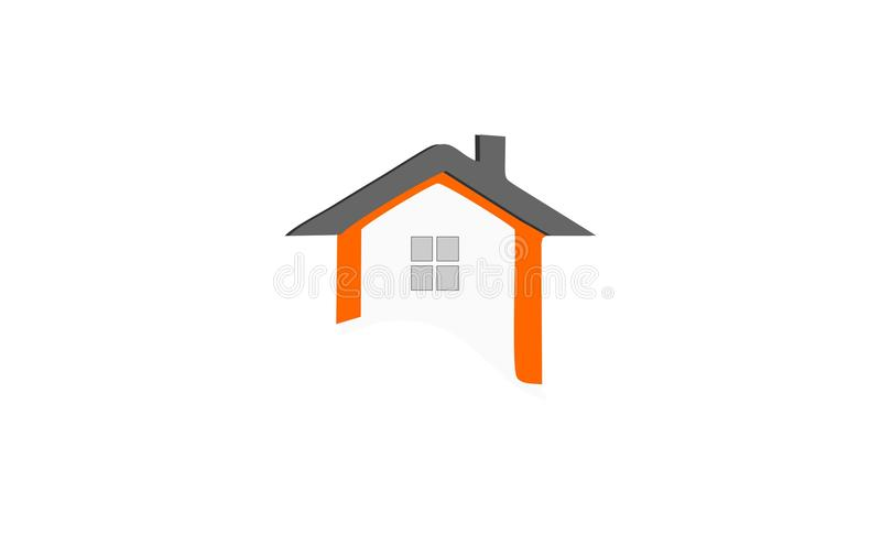 Creative unique home logo design. With a combination of black, and orange royalty free illustration