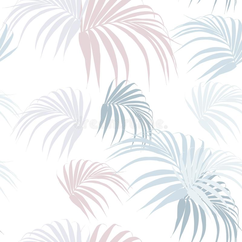 Creative universal floral background in tropical style. Hand Drawn textures with palm leaves. White background royalty free illustration